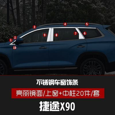 专用捷途x90装饰条不锈钢车窗亮条捷途x70s汽车用品门边改装配件
