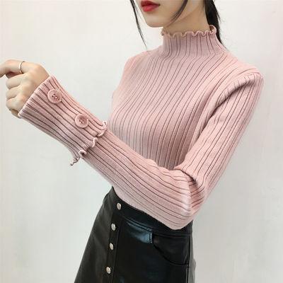 修身打底毛衣女短款2020秋冬新款韩版套头加厚半高领木耳针织衫潮