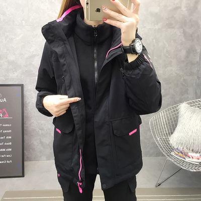 潮牌冲锋衣女三合一可拆卸工装服两件套户外滑雪服女冬季加绒加厚