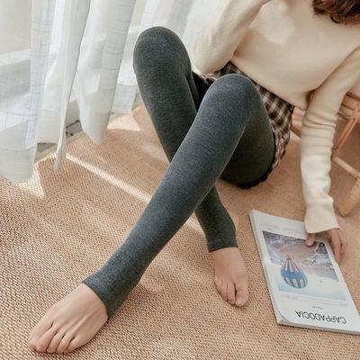 女士打底裤外穿加绒加厚不起球连脚裤袜秋冬高腰显瘦坚条保暖棉裤