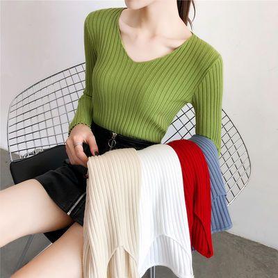 2020秋冬新款韩版百搭修身套头v领毛衣显瘦长袖打底针织衫上衣女