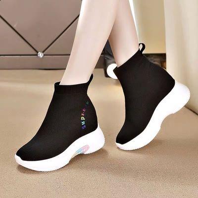 内增高袜子鞋女2019网红秋冬新款飞织鞋加绒高帮弹力冬季运动短靴