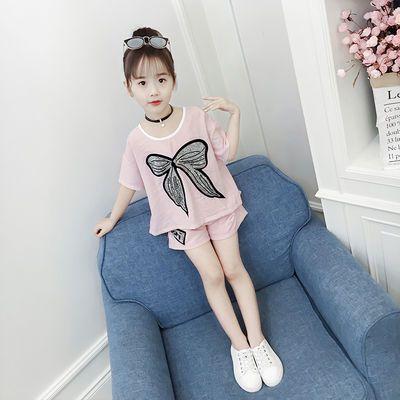 童装女童夏装2019新款套装衣服儿童女孩夏季洋气时髦短袖两件套潮