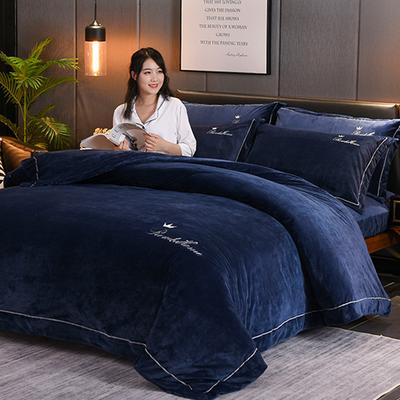 加厚水晶绒珊瑚绒四件套冬季加绒保暖双面法兰绒床单被套床上用品