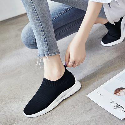 2020新款女士休闲鞋飞织潮流时尚女鞋轻便袜子鞋增高黑秋季透气