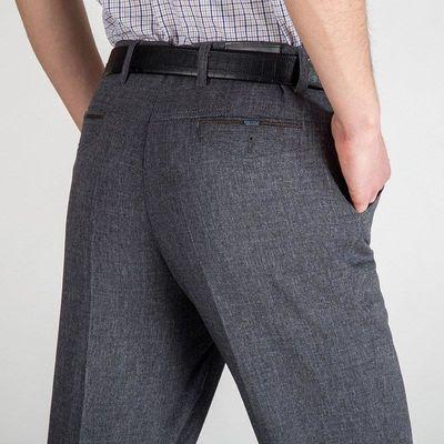 夏季薄款中年裤子长裤中老年人男士休闲裤大码男装宽松西裤爸爸裤