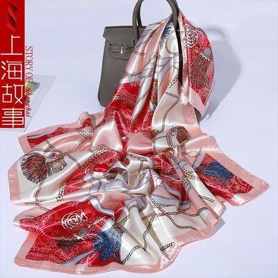 上海故事丝巾女春秋季仿真丝丝巾空姐领巾防晒保暖围巾夏天大方巾