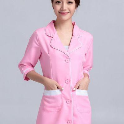 新款美容师工作服夏装美容服七分袖美容院工作服韩版护士服连衣裙