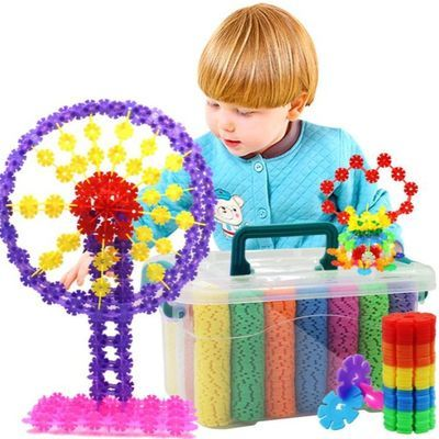 加厚桶装雪花片大号儿童益智拼插积木插片幼儿园玩具批发3-6周岁