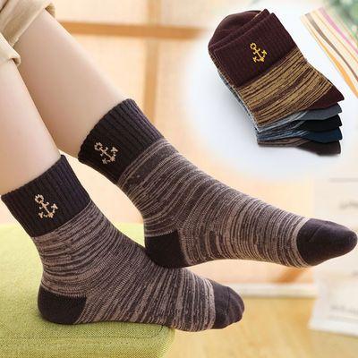 儿童袜子春秋季纯棉男童纯色潮童中筒袜宝宝秋款中大童学生袜五双