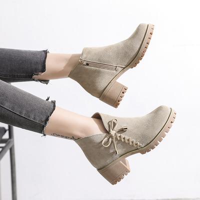 2020英伦风女鞋冬季新款靴子加绒马丁靴及踝靴蝴蝶结中跟粗跟短靴