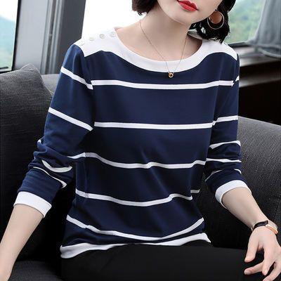 【95%棉】蓝白条纹t恤女士长袖宽松2019秋冬季新款体恤大码打底衫