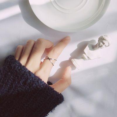 【买一送一】韩版简约双层交叉开口戒指女个性学生百搭闺蜜细尾戒