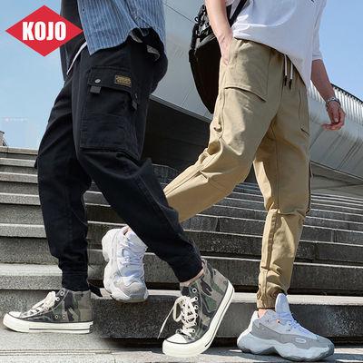 KOJO/裤子男士工装裤韩版宽松大码薄款束脚九分裤ins迷彩工装裤男