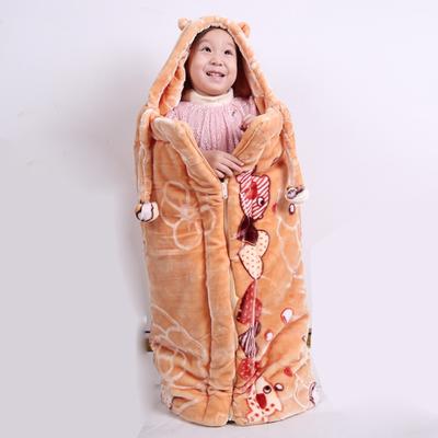 加厚双层新生婴儿睡袋宝宝防踢被儿童毛毯外出披风秋冬小毛毯盖被