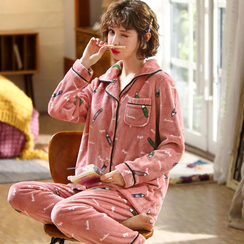 便宜的睡衣女秋冬加厚加绒法兰绒睡衣女套装珊瑚绒睡衣女家居服中年妈妈