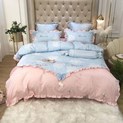韩版公主风纯棉四季加厚磨毛四件套全棉床上用品1.8米床特价清仓