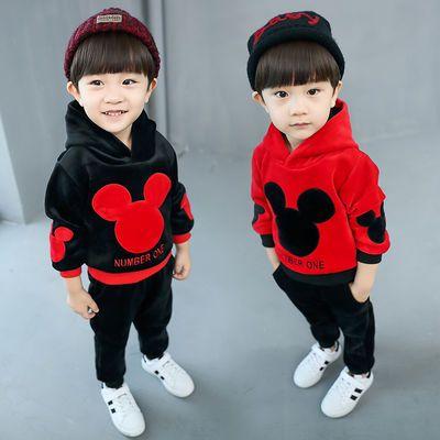 童装秋冬装0-1-2-3-4岁男女宝宝加绒加厚衣服婴儿童棉衣三件套装