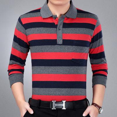春季新款中青年宽松t恤男士条纹翻领长袖上衣POLO衫中年T恤爸爸装