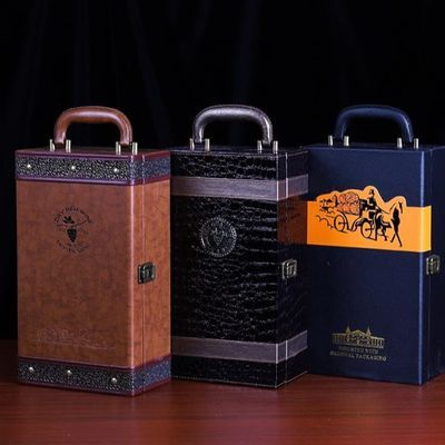 红酒包装盒 礼盒 红酒盒双支装皮盒 酒箱高档葡萄酒盒子2支 定制