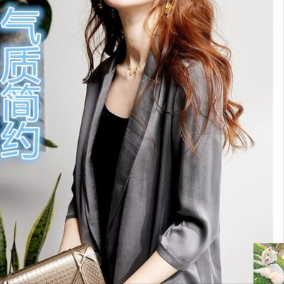 久喜猫墨云马服饰8542#低调华丽高阶灰七分袖西装外套