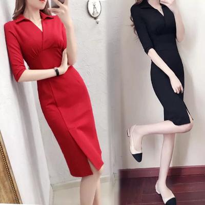 连衣裙2019新款秋装女通勤OL气质修身中长款时尚包臀中袖红连衣裙