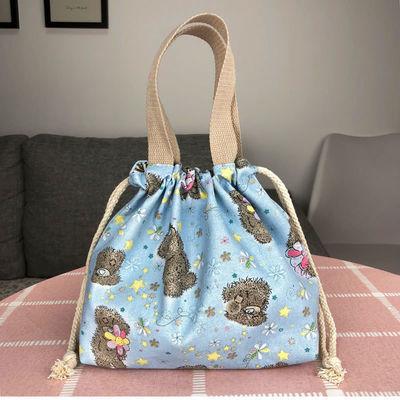 休闲女包手提包帆布包包时尚抽绳布艺小拎包百搭圆形饭盒包零钱袋