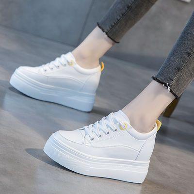 真皮内增高小白鞋女2020春季新款百搭显瘦厚底松糕休闲鞋运动鞋女