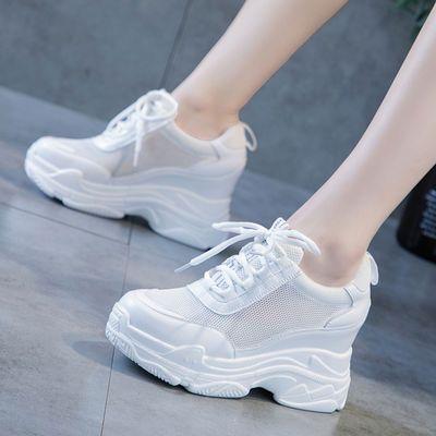 小白鞋女透气网面运动鞋2019夏季新款休闲鞋百搭老爹鞋内增高女鞋