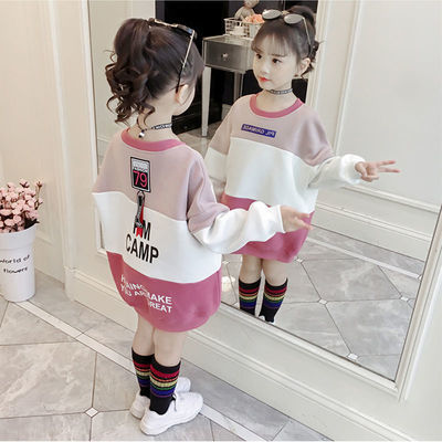 女童卫衣秋装2019新款韩版洋气学生上衣女孩宽松加绒款秋冬儿童装