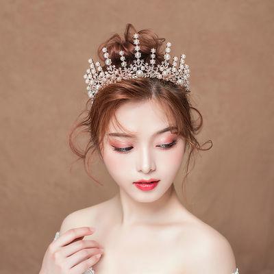 新娘头饰金色巴洛克皇冠网红大气婚纱结婚成人生日公主王冠女1216