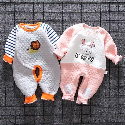 新生婴儿春夏宝宝连体衣服保暖夹棉爬服男0岁1女春秋季纯棉潮哈衣