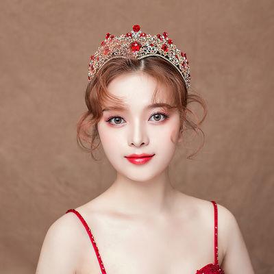 红色新娘皇冠头饰新款结婚大气奢华公主王冠发饰婚纱礼服配饰1206