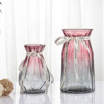 [两件套]欧式创意玻璃花瓶透明水培绿萝植物家用插花客厅装饰摆件