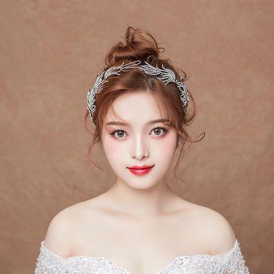 新娘头饰结婚发箍2020新款白色森系婚纱敬酒服礼服配饰套装397