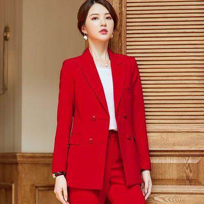 红色西装套装女2020春秋新款时尚气质休闲职业女士正装小西服外套