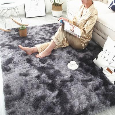 渐变杂色ins扎染地毯卧室床边客厅茶几门垫长毛绒个性网红地毯垫