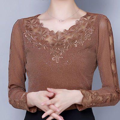 蕾丝打底衫女长袖秋冬新款韩版百搭圆领气质显瘦上衣洋气亮丝t恤