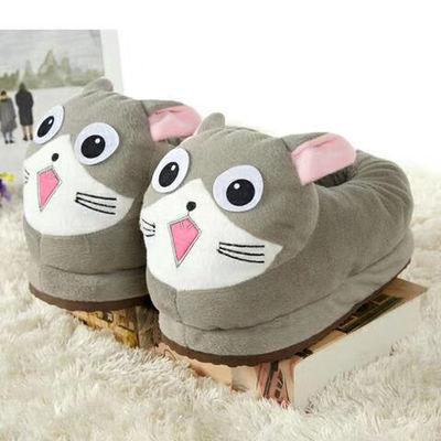 冬季可爱卡通毛毛拖鞋男女情侣装亲子装全包脚跟保暖鞋棉鞋毛绒鞋