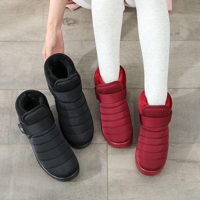 冬季中老年雪地靴平底加厚保暖短靴大码41宽肥脚棉鞋43防滑棉靴45