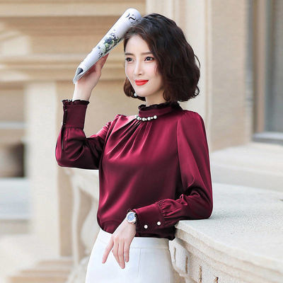 2019秋新款职业衬衫女长袖韩范荷叶边气质雪纺显瘦钉珠商务装衬衣
