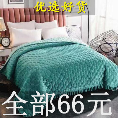 冬季水晶绒花边床单双面床盖夹棉毛毯单双人被子床毯子法兰绒床单