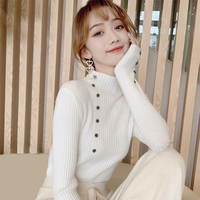 【不起球】纽扣半高领毛衣女打底衫秋冬新款韩版套头修身针织衫
