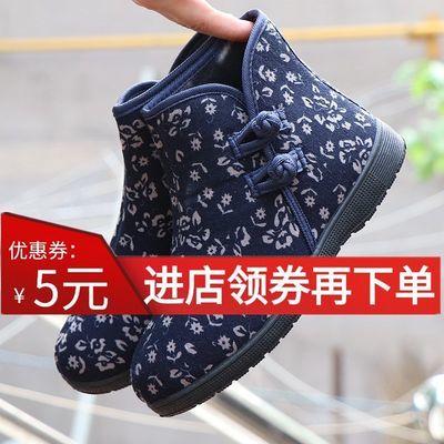 老北京布鞋高帮女棉鞋加绒软底冬季防滑保暖中老年扣带花朵妈妈鞋