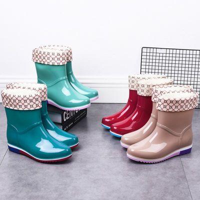 冬季时尚雨鞋女水鞋中筒保暖加绒可拆卸防滑防水雨靴耐磨成人胶鞋