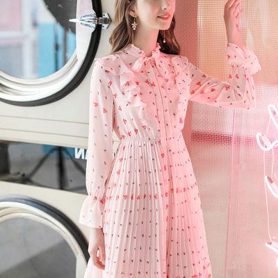 2020春季新款女长袖雪纺连衣裙女仙女裙超仙甜美碎花裙子夏小清新