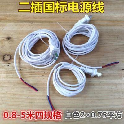 2插国标电源线插头2芯0.75平方两项带线插头两孔二脚电源裸尾垫线