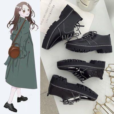 鞋子女学生韩版ins同款鞋百搭黑色皮鞋平底学院风英伦复古小皮鞋