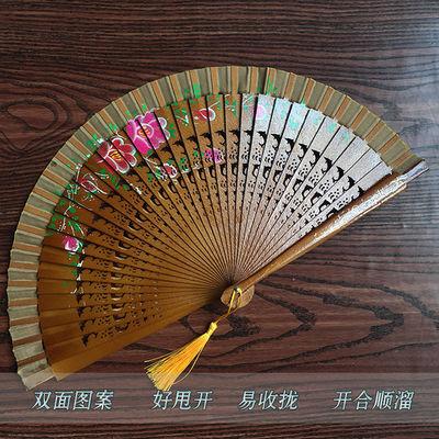 古典双面镂空木扇古典跳舞扇子咏春扇易开合折扇古装舞台表演道具