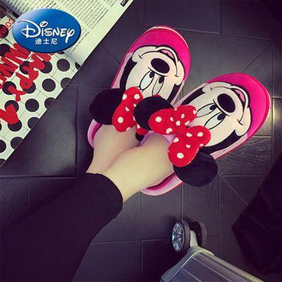 迪士尼亲子棉拖鞋女冬季居家防滑厚底毛毛儿童拖鞋